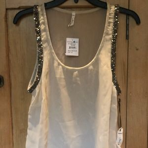 Sheer Tank Top with Beading